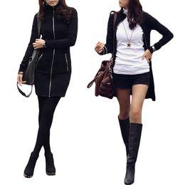 Wholesale Korean Mini Dress Sexy - S5Q Women Zipper Up Bodycon Package Hip Dress Korean Long Sleeve Black Slim Sexy Coat AAAEJJ