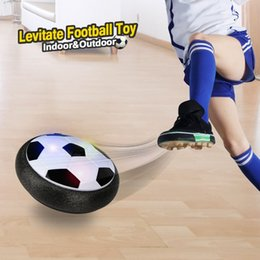 Wholesale Disk Ball - Kids LED Air Power Soccer Football Boys Girls Sport Children Toys Training Football Indoor Outdoor Disk Hover Ball Game with Foam Bumpers
