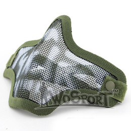 Wholesale Steel Mesh Mask - Lower Half Face Metal Steel Net Mesh Masks Outdoor Hunting Tactical Masks CS Paintball Airsoft Protective Masks