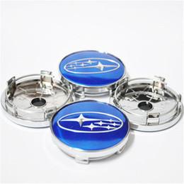 Wholesale Caps Hub Tire - 4pcs Blue Car Wheel Covers for Subaru Wheel Center Hub Caps Replacement Car Wheel Tire Covers ABS Chrome Hub Caps 60mm
