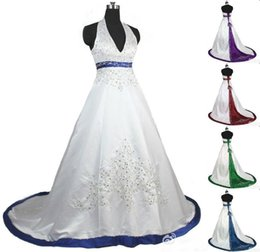 Wholesale Plus Size Empire Top - Stylish Royal Blue Halter Top Wedding Dresses Beaded Lace-up Wedding Dress With Color Embroidery Purple Sexy Plunging Neckline Bridal Gown