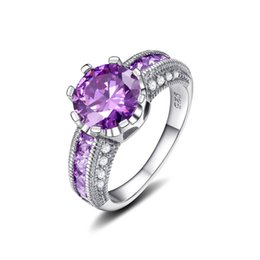 Wholesale Sterling Silver Zircon Sets - 925 sterling silver wedding rings with AAA zircon Purple 7 # 8 # 9 # 2016 new luxury fashion jewelry design Top quality free shipping
