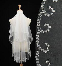 Wholesale Long Beaded Cheap Wedding Veils - Hot Sale Ivory Beaded Sequins White Wedding Veils 2016 Best Long Cheap Bridal veils Wedding Veil Lace