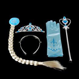 Wholesale Cosplay Multicolour Wigs - Frozen Anna Elsa Headbands 4pcs sets=Crown+ Wig+Wand + Gloves dress Hair Clips Hair Bows Christening Dresses Girls Dancewear1704070