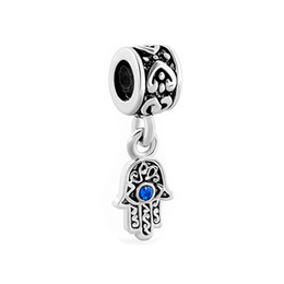 Wholesale Evil Eye Hand Charm - Hand palm blue evil eye drop European style dangle bead infant lucky charms Fits Pandora charm bracelet
