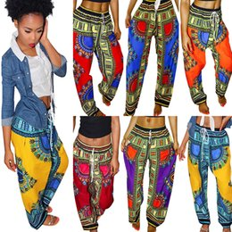 Wholesale Patterned Wide Leg Pants - Ladies Fashion Casual Bohemian Boho Ethnic Pattern Wide leg Long Pants Womens Dashiki Hippie Trousers Traditional African style