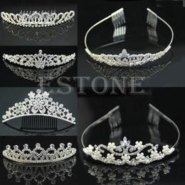 Wholesale Wholesale Rhinestone Pageant Crowns - Wholesale-Wedding Bridal Rhinestone Crystal Hair Headband Crown Comb Tiara Prom Pageant-J117