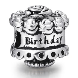 Wholesale Happy Birthday Metal - Happy Birthday Cake Beads European Charms Fit For 925 Sterling Silver Snake Chain Bracelet Fashion DIY Jewelry