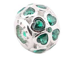 Sterling Silber Charms 925 Ale Herz Green Clover Charms für Pandora Armbänder DIY Fixed Perlen Zubehör Kostenloser Versand von Fabrikanten