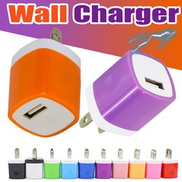 Wholesale Phone Charger Wholesale Usa - Universal Wall Charger Travel Adapter 5V 1A Colorful Home Plug USB Charging USA Version For Tablet iPhone Samsung Redmi Huawei Smart Phones