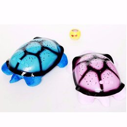 Wholesale Turtle Light Wholesale - New Fasion Turtle Led Night 4 Light Novelty Lighting Music Turtle Lamp Moon Stars Projector Baby Gift Cute Children toy