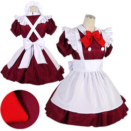 Wholesale Maid Clothing - 2015 Japanese anime jumpsuit café waiter clothing outfit maid cosplay school girl uniform dress costumes clubwear cosplay adult lolita dress