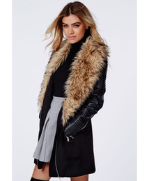 Wholesale Womens Fur Collar Coat - Wholesale-Womens Coats Winter 2015 Wool Coat With Leather Sleeves Women's Winter Long Wool Coat With Fur Collar