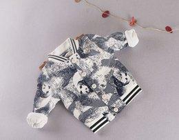 Wholesale Baseball Jacket Lined - Children Casual Jacket For 2015 Hot Sale Cotton Baby Boys Baseball Cutomn Panda Pattern Kids Long Sleeve OutwearFit 1-5 Age 5Pcs lot SS204