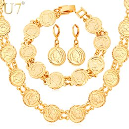 Wholesale European Necklace Earring Sets - Women's Hot European Coin Beads Bracelet Earrings Necklace Set New Arrival 18K Real Gold Plated Vintage Jewelry Set U7 7-NEH5157