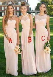 Wholesale Different Halter Bridesmaid Dress - Elegant Long Chiffon Bridesmaid Dresses Different Style Pleats A Line Bridesmaid Gowns Cheap Wedding Bridesmaid Gowns Robe 2018