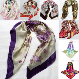 Wholesale Women Silk Stockings - In Stock Fashion Women Large Square Silk Scarf Printed 90*90cm Fashion Spring And Autumn Chinese Silk Scarves Cheap Wraps Free Shipping