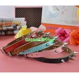 Wholesale Spike Studded Collars - (50 Pieces lot) Brand New Fashion Cow Leather Studded Spikes Aggressive Dog Collar Pet Products Supplier
