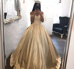 Wholesale Princess Style Prom Dresses Pink - 2018 Gold Quinceanera Dress Princess Arabic Dubai Styles Off Shoulder Sweet 16 Ages Long Girls Prom Party Pageant Gown Plus Size Custom Made