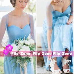 Wholesale Wedding Shawls For Bridesmaids - Two Pieces 2016 Bridesmaid Dresses with Shawl Sweetheart Sky Blue Tulle Long Simple Satyle Maid of Honor Gowns for Beach Wedding Party Cheap