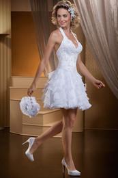 Wholesale Vestidos Mini Skirt - Vestidos De Fiesta Vintage Women Short Wedding Dresses Ruffles Organza Train Ball Gown Halter Wedding Dress Tiered Wedding Gown Cheap New