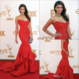 Wholesale Taffeta Ruffled Long Prom Dresses - 2015 New Emmy Awards Celebrity Dresses With Strapless Ruffles Backless Mermaid Sweep Train Satin Red Nina Dobrev Evening Prom Party Gowns