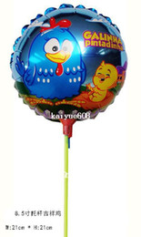 Wholesale Chicken Balloon - wholesale 8.5inch Galinha pintadinha foil balloon with stick and cup small round chicken balloon for birthday party