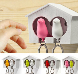 Wholesale Sparrow Key - 2015 1Set Double Whistle Bird And House With Metal Key Ring Wall Hook Nest Key Holder Plastic Sparrow Metal Key Chains Set CYB50