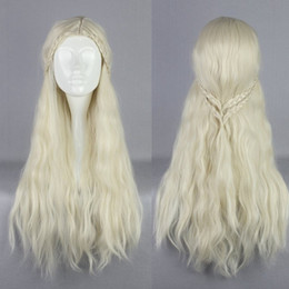 Wholesale Wig Cosplay White - Wholesale-Halloween 75CM Game of Thrones Womens Daenerys Targaryen Cosplay Wig A Song Of Ice And Fire The Mother Of The Dragon Hair Wig