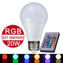 Wholesale E27 Globe Lamp - NEW E27 RGB LED Lamp 10W 15W 20W LED RGB Bulb Light Lamp 110V 220V Remote Control 16 Color Change Lampada LED Global Light Luz A65 A70 A80