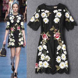 Wholesale Short Sleeve Cat Dress - Luxury Women Lace Embroidery Sheath Dress Elegant Round Neck Cat Walk Dresses 15108182