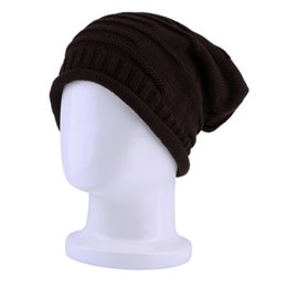 Wholesale Cheap Stingy Brims - Wholesale-New Hot Fashion Coffe Beanie Hat Unisex Cap Women Men Winter Warm Ski Knitted Crochet Baggy Cheap And New Hot Selling