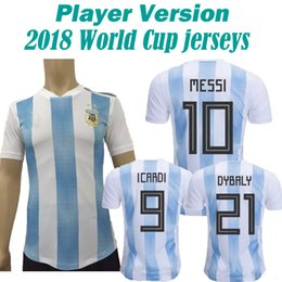 Wholesale Messi Football Player - 2017 2018 Argentina Player Version Soccer Jersey 2018 world cup Argentina Home Blue soccer Messi Aguero Di Maria uniform football shirts