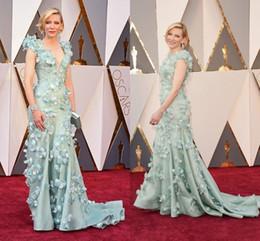 Accademia riconosce i vestiti online-Cate Blanchett Florals V Neck Academy Awards 2018 Oscar Fiori decorati Abiti celebrità Guaina Abito da sera formale lungo