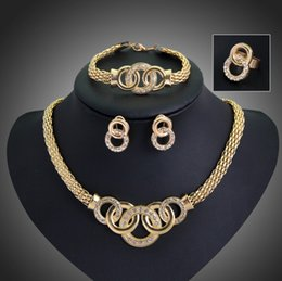 Wholesale Vintage Collar Necklaces - Jewelry Sets Fashion Collar Statement Necklace Earrings Bracelet Rings Sets For Women Gold Plated Vintage Party Accessories