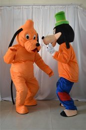Wholesale New Pluto Mascot Costume - Factory Outlets new Big pluto and Goofy dog Halloween Fancy Dress Cartoon Adult Animal Mascot Costume free shipping