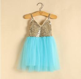 Wholesale Babys Blue Clothes - 2016 new Babys Kids Clothes spring summer girls shoulder-straps cotton lace sequins princess party tutu dress
