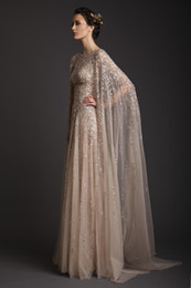 Wholesale Watteau Organza - 2015 Wedding Dresses A-Line Crew Champagne See-Through Tulle Bridal Gowns Appliques Beads Watteau Evening Dress Krikor Jabotian Prom Gown