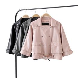 Wholesale Ladies Gray Leather Jacket - leather jacket Women Gray Black Pink European New Fashion Multiple Button Belt Leather Coats Ladies PU Biker Woman jackets 2018