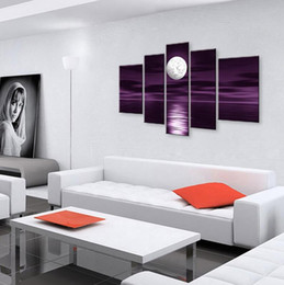 Wholesale Painting Oil Sea - hand-painted oil wall art Sea full moon night home decoration abstract Landscape oil painting on canvas 5pcs set c09