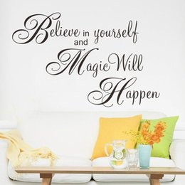 Wholesale Wine Decal Stickers - New Design Believe In Yourself and Magic Will Happen Inspiration Quot Wall Sticker Decal for Living Room Bedroom Home Decoration wine decor