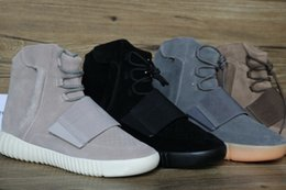 Wholesale Cream Ankle Boots - 750 Boost Glow In The Dark Kanye West Leather Ankle Boots Men's Sport Running Shoes(With receipt laces dust bags boxes)
