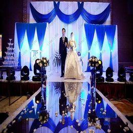 Wholesale Wholesale Gold Table Decoration - 2017 New Arrival Wedding Centerpieces Mirror Carpet Aisle Runner Gold Silver Double Side Design T Station Decoration Wedding Favors Carpets