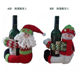 Wholesale wine christmas ornament - Wholesale- Christmas Gift For Hold the Wine bottle Decorations Ornament new year decor Snowman Santa Claus