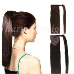 Médio ponytails marrom on-line-Qualidade superior 100% Cabelo Humano rabo de cavalo 20 22 polegadas 100g # 6 / Médio Marrom Duplo Desenhado Brasileiro extensões de cabelo Indiano Malaio Mais cores