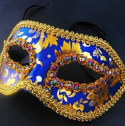 Wholesale Venice Free - HOT Half Face Halloween Masquerade mask male Venice Italy flathead lace bright cloth masks Halloween Mask Party Mask free shipping H41