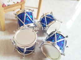 Wholesale Wholesale Hang Drum - Wholesale-50pcs pack Christmas tree decoration gift laser 3cmchristmas drum New year hanging on the tree party and festival decoration