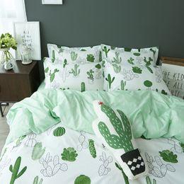 Wholesale Bedsheets Queen Size - Wholesale- Simple style cactus banana Clouds bedding set cotton 4pcs bedding bed linen king queen twin size Quilt duvet cover set bedsheets