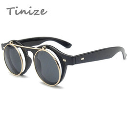 Wholesale Retro Steampunk Flip Up Glasses - Wholesale-Tinize Hot Sale Steampunk Goth Glasses Goggles Round Steam punk Flip Up Sunglasses Retro Vintage Fashion Accessories