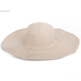 Wholesale Straw High Hat - Wholesale-High Quality ! Sun Hats for Women Fashion Women's Fashion Big Wide Brim Beach Sun Cap Straw Weave Hat Headwear 6 Colors